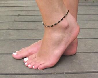 Black  Anklet - Black Ankle Bracelet - Beaded Anklet - Foot Jewelry - Foot Bracelet - Summer Jewelry - Beach Jewelry