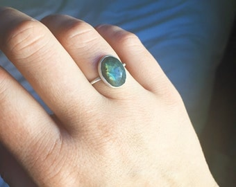 Hidden constellation ring with labradorite | womens labradorite ring in sterling silver