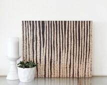 Birch trees art. Abstract forest art. Wood burning art. Birch forest art.  Modern landscape art.