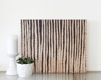 Birch trees art. Abstract forest art. Wood burning art. Birch forest art.  Modern landscape art.