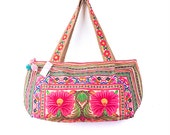 Orange Big Flowers Hill Tribe Shoulder Bag with Hmong Embroidered Medium Size Fair Trade (BG309ORGHFS)