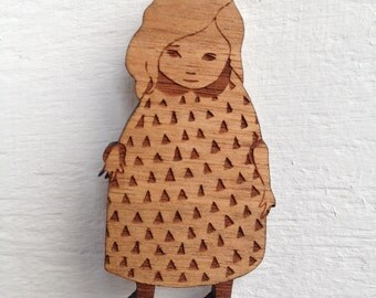 Wooden Brooch - Puddle Girl