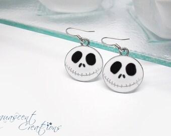 Jack Skellington earrings, skull earrings, nightmare before christmas earrings, silver enamel ghost earrings, Halloween earrings, women gift