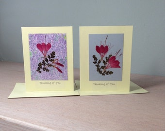 Greeting Cards, Pressed Flower Greeting Cards With Real Pressed Flowers Set of 2