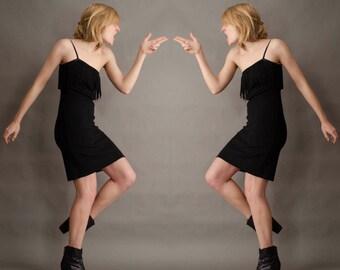 Fringe 70's Body Con Vintage Little Black Dress Minimalist VTG Jonathan Logan Union Made Disco Asymmetrical Off The shoulder Small S XS