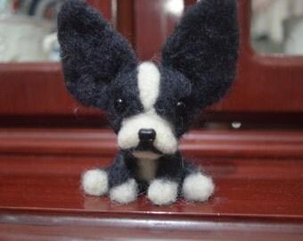 Felt Boston Terrier Felt Miniature Dog Needle Felted Toy Felt Wool wool dog Gift