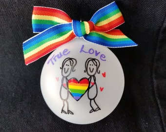 gay wedding gift, personalized gay pride ornament, gay ornament,pride ornament, love wins,love is love, gay men, lesbian gift