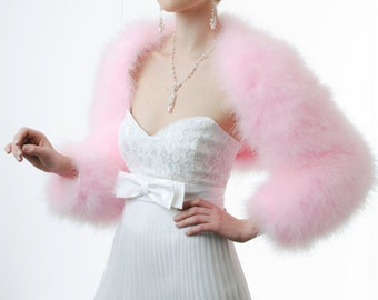 Pink Bridal/ Evening Marabou Shrug, Bolero, Cropped Jacket.