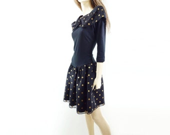 80s Polka Dot Dress, 80s Party Dress, Black Gold Mini, 80s LBD Dress, 50s Style Dress, Rockabilly LBD, Vintage Black Dress, s, m