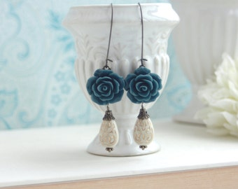 Navy Blue Rose, Ivory Pear Ornate Gold Inlay Beads Earrings. Bridesmaid Gift. Blue Wedding. Something Blue, Blue Rustic Garden Wedding, Sis