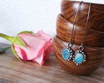 Lightning Ridge Black Opal, Sterling Silver, Drop Earrings, Long Earrings... Fire And Light...