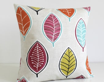 Decorative Pillow Case, Accent Pillow, Cushion Cover, 18 Inch Sofa Pillow, 18x18 Pillow Cover, Scatter Cushion - Modern Leaves Raspberry