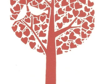 Love Tree - Lino Print - Love Birds  - Linocut - Red Tree of Life - White Doves - Love Gift - Romantic Tree Anniversary Gift
