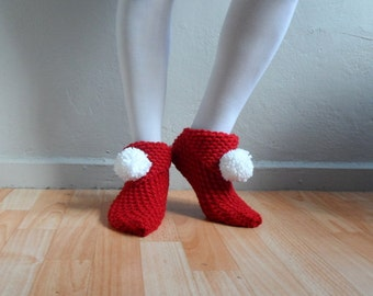 Christmas Slippers, Red Slippers, Women Slippers, Knit Slippers with Pompoms, House Shoes, Slippers Socks,Winter Accessories,Valentines Day