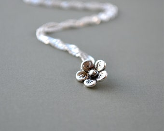 Silver Flower Necklace, Forget Me Not Necklace, Dainty Necklace Forget Me Not Jewelry, Flower Jewelry Silver Necklace, Anniversary Wife Gift