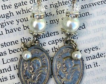 Silver and Pearl Religious Earrings, Saint EaRRings, Religious Jewelry, Saint Padre Pio, Assemblage earrings