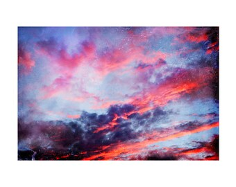 Sunset photography, surreal photography, large wall art, abstract art, sky, clouds, afterglow, hot pink, violet, light blue, oversized print