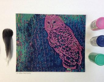 Pop Art. Barn Owl Art Print. Vibrant Pink and Greens. 8x9. Modern Bird Art. Nature Art. Hedwig Owl Art. Steampunk Unique Gift. Cool Gift
