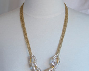Pave Chain Necklace, Gold Necklace, Multi Strand Necklace, Pave Link, Diamond Necklace, J. Crew Inspired, Chic Necklace, Jewelry Trends 2017