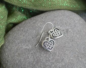 Irish Celtic Heart Earrings with Sterling silver ear wires