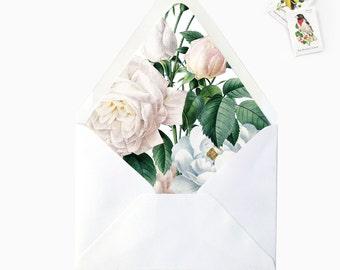 White Blush Floral Flower Leaves Envelope Liners, DIY Printable Garden Wedding Invitations