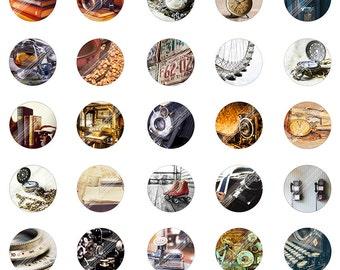 Vintage Secret Digital Collage Sheet,Printable Download,Book,Old Camera,Typer,Watch,1 inch Circle Round Image,Cabochon,Bottle Cap,Clip Art