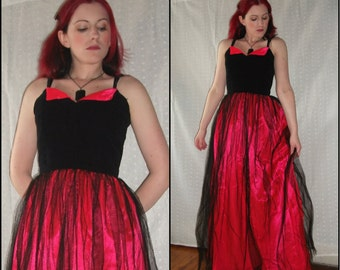Pink and Black Floor Length Dress