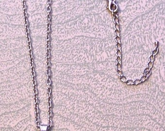 One-inch silver bezel necklace floral flowers vintage greeting card