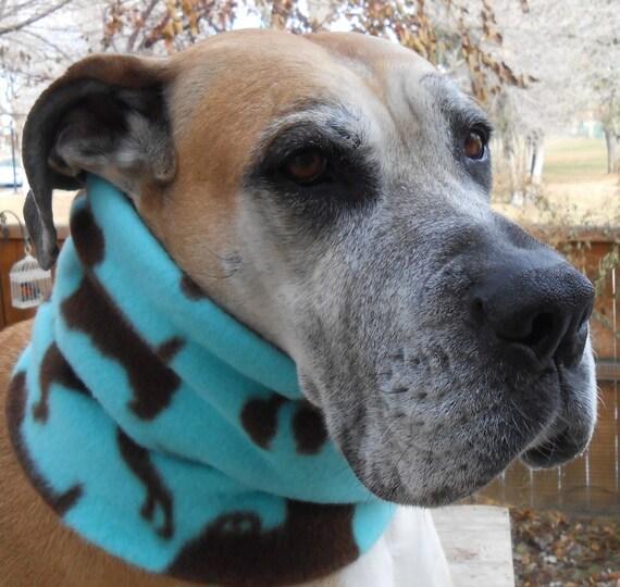 Aqua Blue Fleece Dog Scarf W/ Dog Silhouettes By BellaTAZ