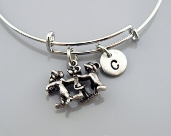 Three blind mice Bangle, Three blind mice bracelet, 3 blind mice bracelet, Expandable bangle, Charm bangle, Monogram, Initial bracelet