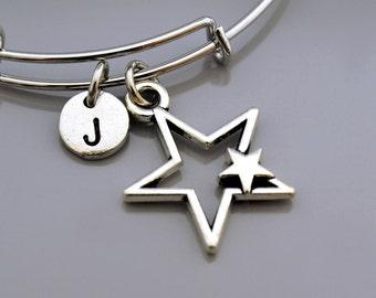 Star bangle, Star bracelet, Silver star bracelet, Star charm, Expandable bangle, Personalized bracelet, Charm bangle, Initial bracelet