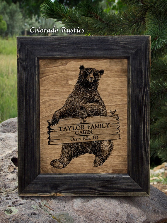 personalized cabin sign cabin decor bear sign rustic