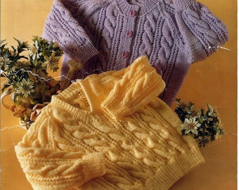 Instant Download - PDF-  Vintage DK Cable Cardigan and Jumper Knitting Pattern (6)
