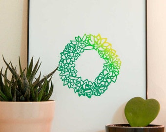 Ombré Succulent Cactus Wreath -  Original Handmade Linocut Relief Art Print