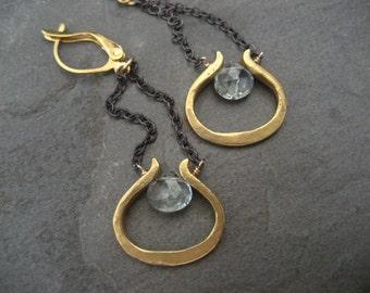 Aquamarine earrings, genuine aquamarine, blue dangle, mixed metal, blue earrings