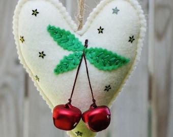 Handmade felt heart with jingle bells , Christmas gift , Home decor