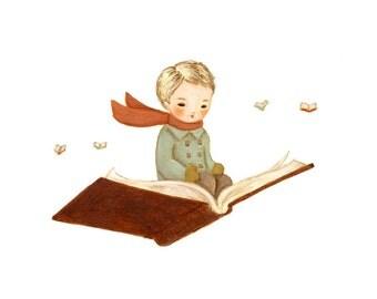 Fly Away With A Book Print 10x8 - Boy Art, Nursery Art, Children's Art, Kids Art,  Book Lover, Bookworm, Reading, Teacher, Writer, Librarian