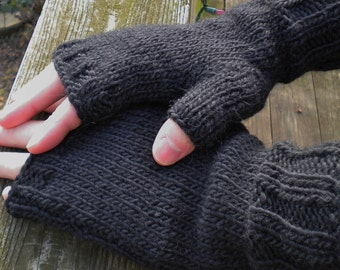 Fingerless Gloves Men's Hand Knit Black Merino Wool & Mohair Hand Warmers Men's Knit Fingerless Gloves Black Wool Mohair Fingerless Gloves