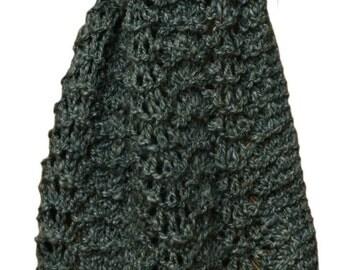 Hand Knit Scarf - Mint Tea Handspun Wool Silk Feather Fan Lace