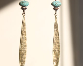 Boho Turquoise Earrings Brass Drop Earrings Bohemian Earrings Dangle Textured Earrings Jewelry Long Light Gift For Her Gift Ideas