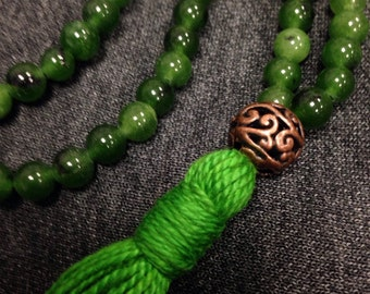 Adventurine Mala Prayer Beads, 108 beads with green tassel and copper guru bead.