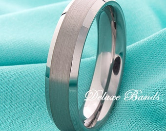 Tungsten Wedding Ring 6mm Beveled Edges His Hers Tungsten Anniversary Ring Tungsten Promise Ring Mens Band Comfort Fit FREE Laser Engraving