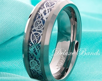 Celtic Dragon Tungsten Band Blue Celtic Dragon Tungsten Ring Mens Wedding Ring 8mm Beveled Edges Irish Promise Ring His Hers FREE Engraving