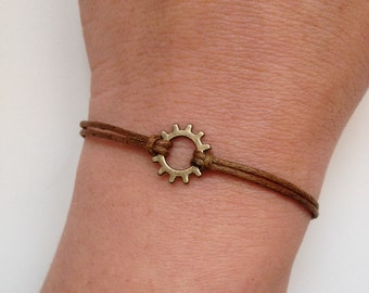 Gear Bracelet 143- friendship bronze charm steampunk waxed cotton bracelet gear gift adjustable current womenswear trendy