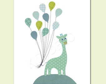 Print for nursery boy baby Kids Wall Art Nursery Decor Baby boy Room Art Nursery Art Decor blue green giraffe balloons pattern.