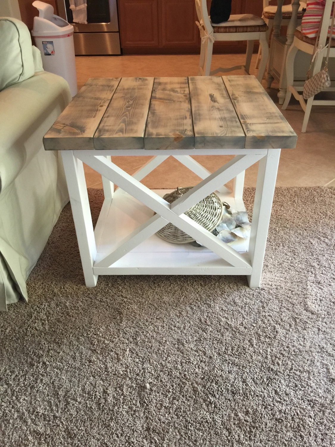 Custom rustic farmhouse end table for Diy coffee and end tables