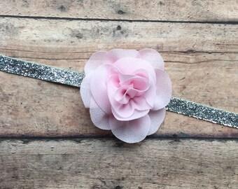 Baby Girl Headband, Pink Chiffon Flower on Silver Glitter Elastic Headband