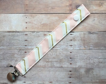Pink & Gold Chevron Fabric Baby Pacifier Clip