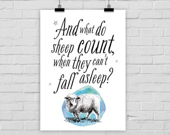 fine-art print funny poster COUNTING SHEEP sleep night vintage