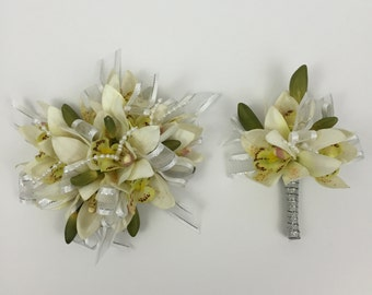 Real Touch White Orchid Corsage And Boutonnière Set